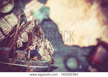 background of Columbus Day vintage worldmap and discovery