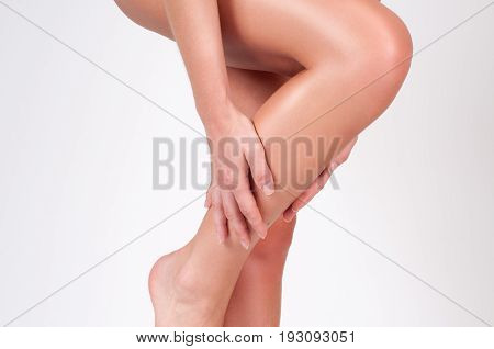 Woman Legs With Smooth Skin After Depilation.