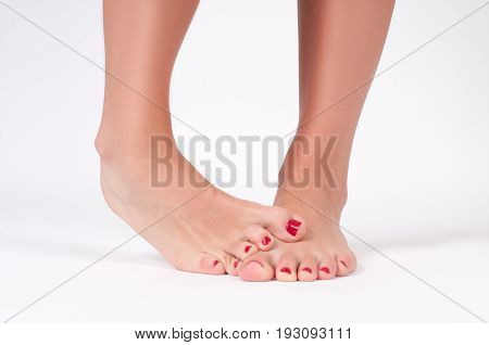 Foot Fungus. Female Feet On White Background.