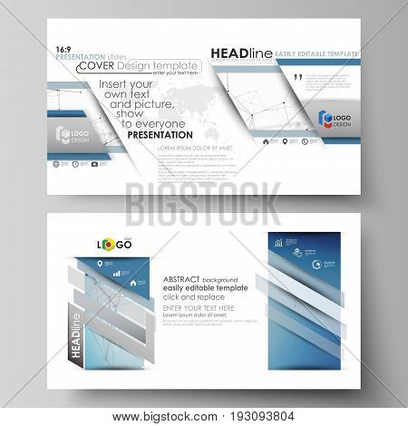 Business templates in HD format for presentation slides. Easy editable abstract vector layouts in flat design. Geometric blue color background, molecule structure, science concept. Connected lines and dots.