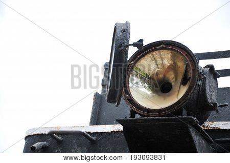 old train front light, The front part of an old steam train
