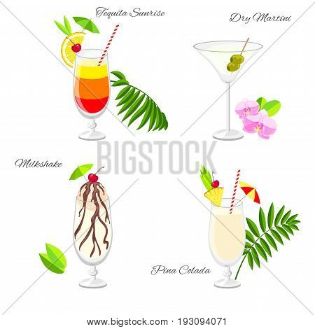 Set of popular beach party cocktails vector cartoon style. Collection of summer long drinks isolated on white for restaurant bar menu or beach party banner and flyer