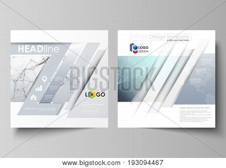 Business templates for square design brochure, magazine, flyer, booklet or annual report. Leaflet cover, abstract flat layout, easy editable vector. Compounds lines and dots. Big data visualization in minimal style. Graphic communication background.