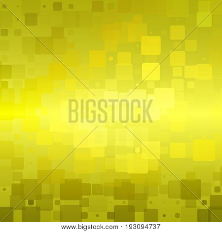 Golden yellow khaki vector abstract glowing background with random sizes rounded tiles square