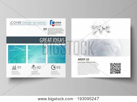 The minimalistic vector illustration of the editable layout of two square format covers design templates for brochure, flyer, booklet. Chemistry pattern. Molecule structure. Medical, science background.