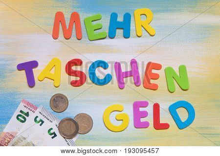 Colorful Letters And Euro Currency, German Word