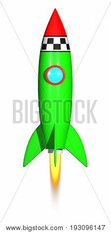 Rocket launcher start up. 3D render. Isolated on white