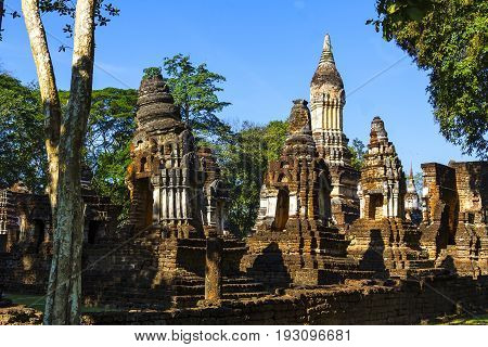 Wat Chedi Chet Thaeo temple and old architecture in Sisatchanalai Historical Park Sukhothai province Thailand