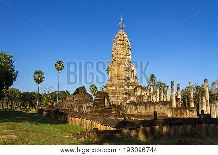 Architecute detail with clear with sunshine at Wat Phra Si Ratanamahathat in Sisatchanalai Historical Park Sukhothai province Thailand