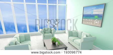 Digitally composite image of login window with text and various icons on device screen against computer graphic interior of modern living room