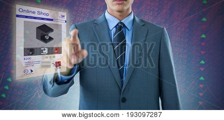Midsection of well dressed businessman pointing against stocks and shares