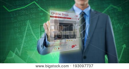 Well dressed businessman pointing against stocks and shares