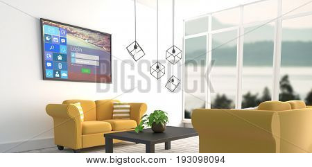 Digitally composite image of various computer icons with login page against yellow sofas in modern living room