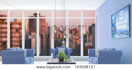 Text with various icons on device screen against digital composite interior of modern living room