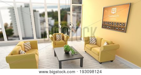 Digitally composite image of various icons with text against digital image of modern living room