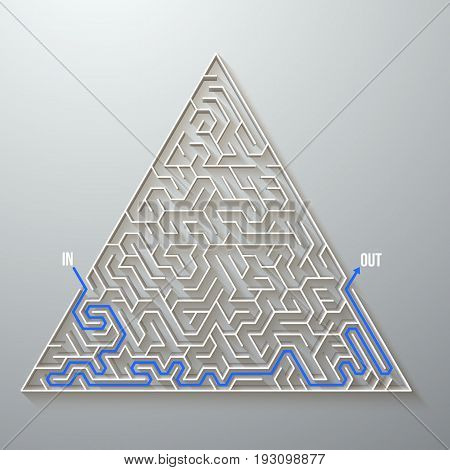 Illustration of Vector Maze Labyrinth. Antique Puzzle Game Pattern with Solution
