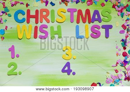 Colorful Letters, Christmas Wish List
