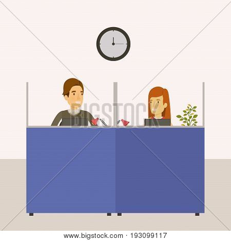 color background cubicles workplace office with man and woman employees vector illustration