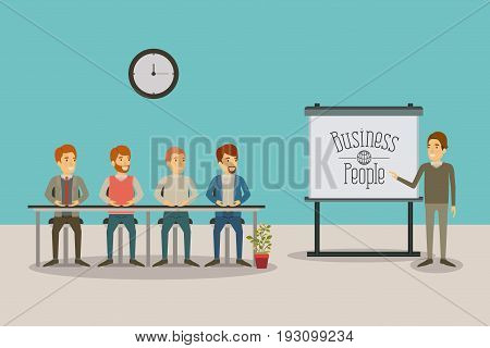 color background men group sitting in a desk for executive male in presentacion business people vector illustration
