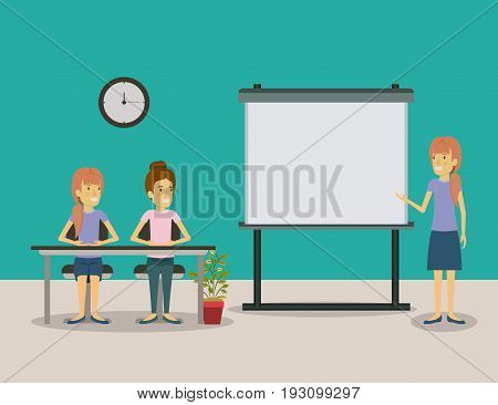 color background pair of women sitting in a desk for female executive lecturer in presentacion business people vector illustration