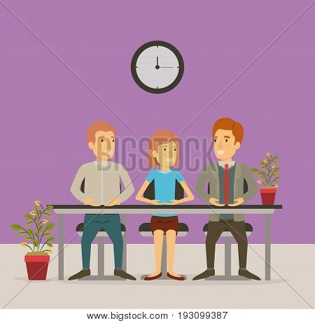 color background with group people sitting in table desk meeting business people vector illustration