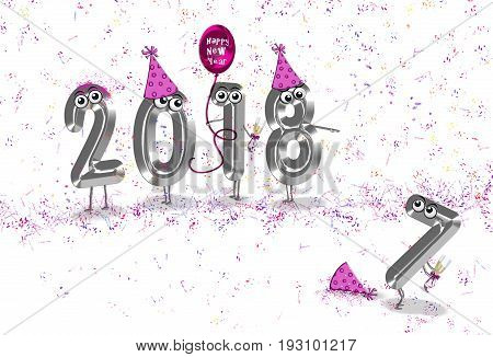 New Year 2018 party humor with silver metal numbers and pink balloon with confetti