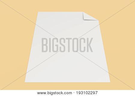 Blank White Flyer With A Curved Corner Mockup On Orange Background