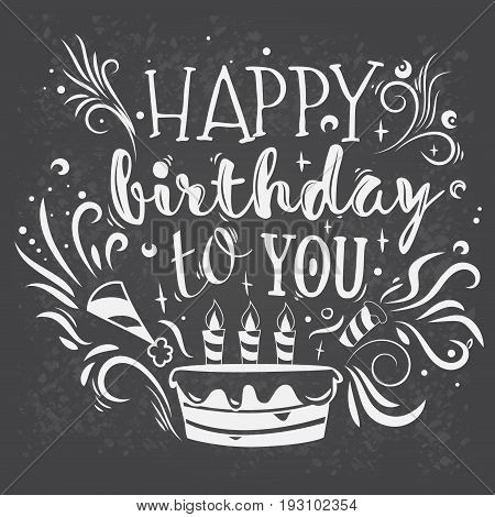 illustration of the inscription on happy birthday. Template for greeting card with a handwritten inscription