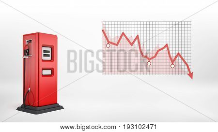 3d rendering of a single red fuel pump in side view standing beside a red negative statistic chart . Lowering petrol prices. Gas station. Oil business.