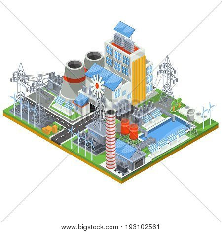 Isometric illustration of a thermal thermal power plant running on alternative sources of energy. The concept of eco-friendly green energy by using wind and solar energy