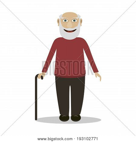 An elderly man with a cane stands and smiles a flat illustration on a white background. Grandpa vector character in a flat style