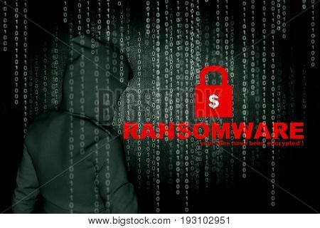 Ransomware,Computer hacker or Cyber attack concept background,3d illustration