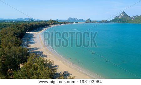 Aerial view of Ao Manao beach bay in the Prachuap Khiri Khan province, Thailand