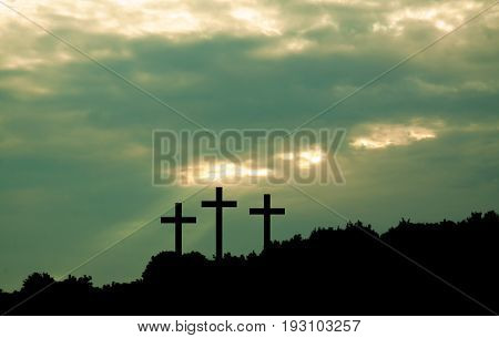 Three Cross On Sky Background
