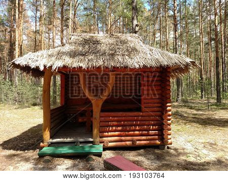 Old Abandoned Hunter's Cabin In Ukraine Forest.
