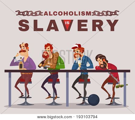 cartoon illustration of men with alcohol addiction, metaphor. Icons of drunk men sitting at a bar counter