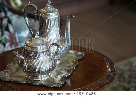Vintage Luxury Silver Dishware, Tea Set
