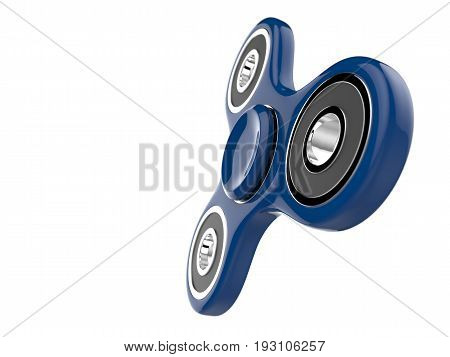 The blue glossy fidget SPINNER stress relieving toy on white isolated background. 3d illustration.