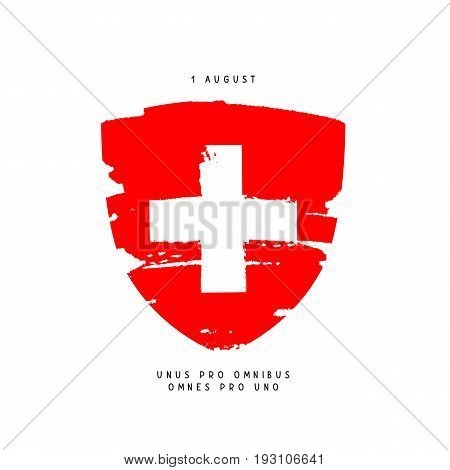 Swiss Day August 1. Coat of arms with a white cross. Vector illustration. Holiday postcard. The motto is one for all and one for all in Latin