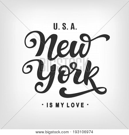 New York City Typography with hand written modern calligraphy. Poster, t-shirt print, tee graphics, wall decor. Hand crafted lettering. Vector illustration.