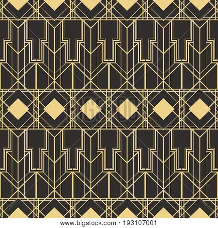 Vector modern tiles pattern. Abstract art deco seamless monochrome background.