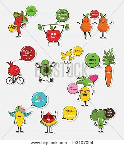 set of funny fruit and vegetable icons. Cartoon face food emoji. Funny food concept. vector illustration