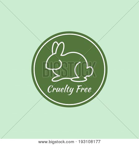 Logo cruelty free. Sticker not tested on animals. Icon bunny. Vector illustration.