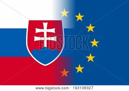 Slovakia national flag with a flag of European Union twelve gold stars, political and economic union, EU member since 1 May 2004. Vector flat style illustration
