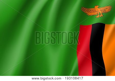 Waving flag Republic of Zambia. Symbol african state in proportion correctly and official colors. Patriotic sign Eastern Africa country. Vector icon illustration