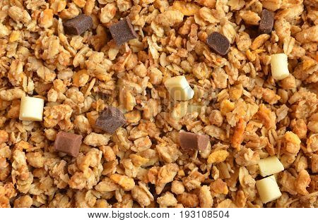 Muesli cereal with pieces of chocolate close up. Granola is healthy food for a breakfast.