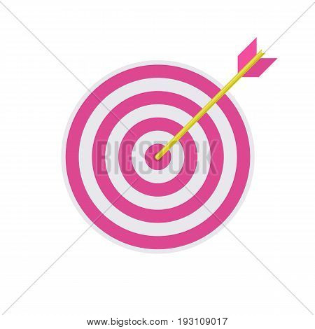 Business success concept icon. Archery target with arrow hitted the mark, market competition or project winner. Vector flat style cartoon illustration isolated on white background