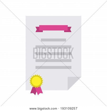 Diploma flat icon. Certificate of congratulations, contract or achievement paper. Vector flat style cartoon illustration isolated on white background. Business concept