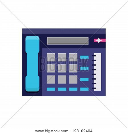 Office telephone flat icon, multiline phone system, communication center. Vector flat style cartoon illustration isolated on white background. Business concept