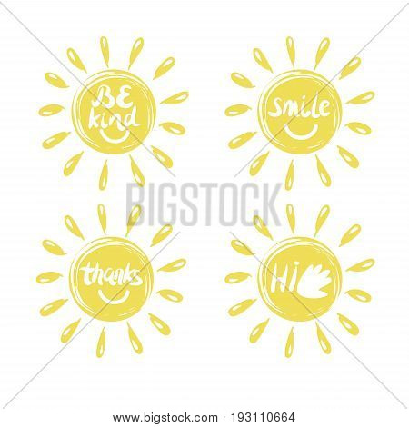 Four logo in the shape of a sun with a handwritten Hi Thanks Be kind smile. Emblem. Children s background.